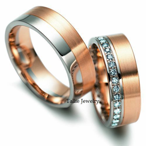 His & Hers Mens Womens Matching 14K White and Rose Gold Two Tone Gold Wedding Bands Rings Set  7mm/6.5mm Wide Sizes 4-12  Free Engraving New