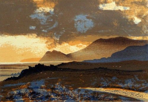 Aidan Flanagan: Evening Light on Atlantic Drive, Achill, screenprint,  €200