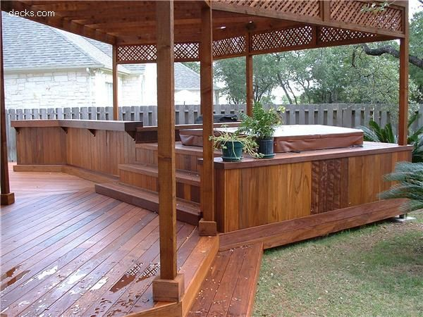 14 best images about ideas for the house on pinterest for Garden decking and hot tub