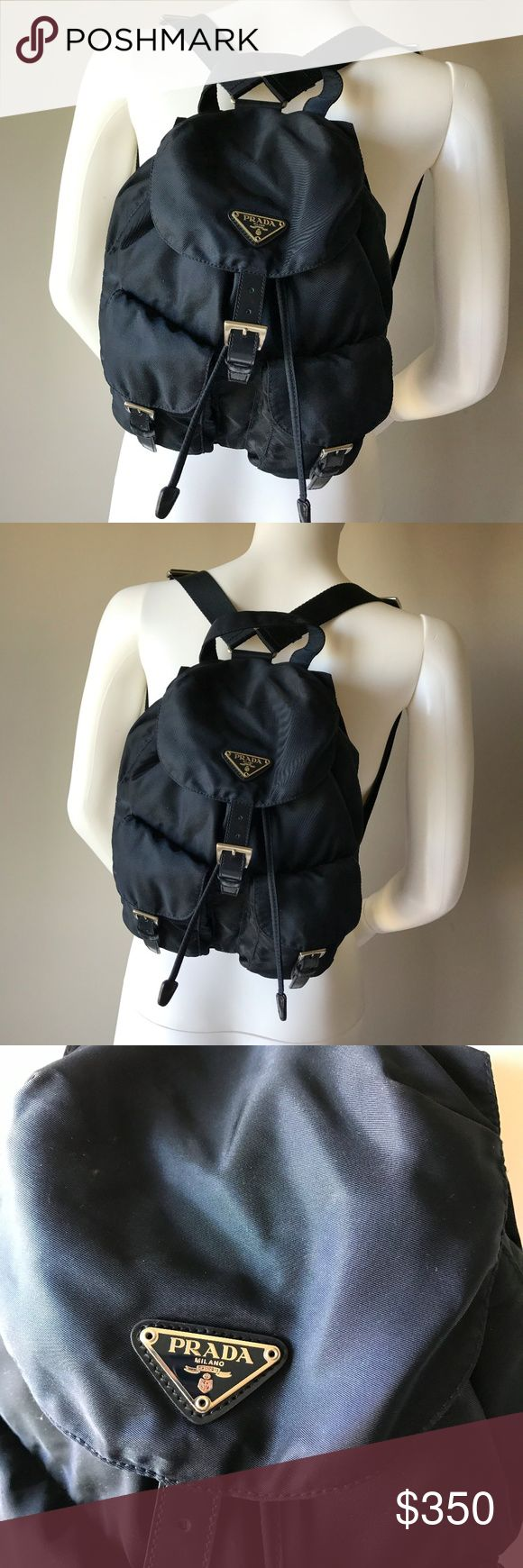 """Authentic Prada Vela Small Two-Pocket Backpack 100% authentic small Vela backpack. Please note that the dimensions are 11""""H x 9.8""""W x 5""""D.  • Web top handle and adjustable shoulder straps; 47.3""""L. • Front flap pockets with saffiano leather buckles. • Buckled flap top with logo plate. • Drawstring cinches top. • Made in Italy. Prada Bags Backpacks"""