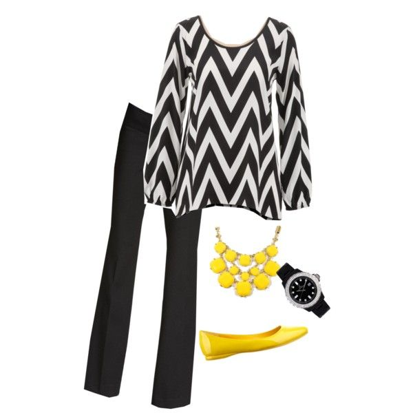 black and white with a pop of color (maybe not yellow) love the chevron top