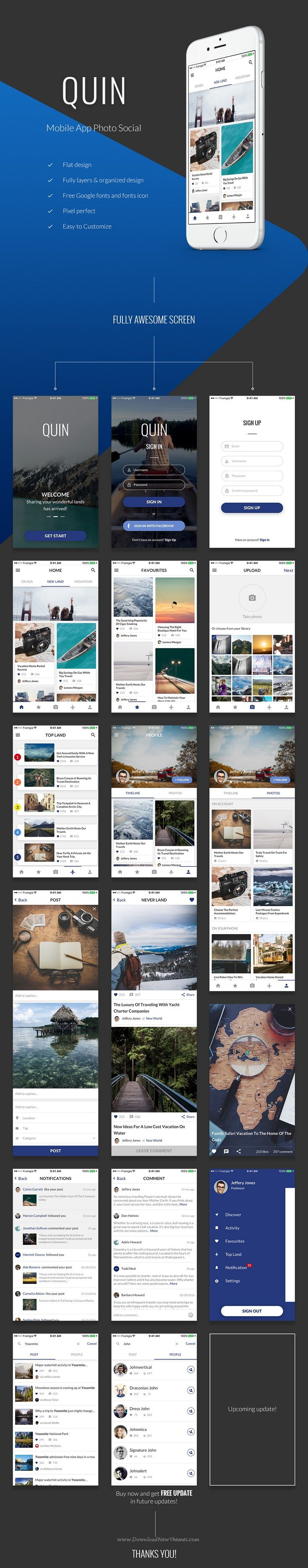 Quin is mobile #app to share your best photos to social friends. #ui #sketchtemplate Download Now➝ http://themeforest.net/item/quin-mobile-app-photo-social/15787297?ref=Datasata