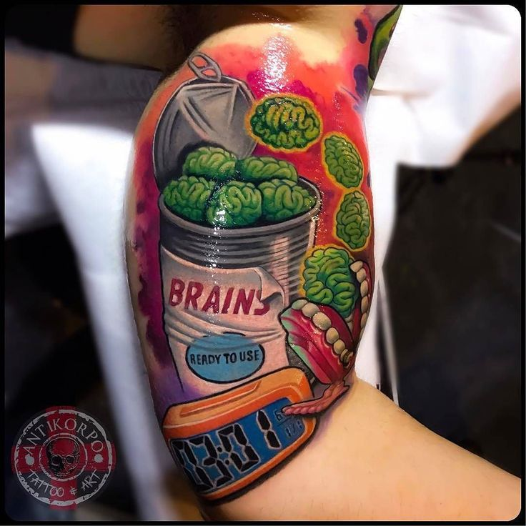 Canned Brains by @antikorpo in Orzinuovi Italy. #cans #brains #antikorpo #orzinuovi #italy #tattoo #tattoos #tattoosnob