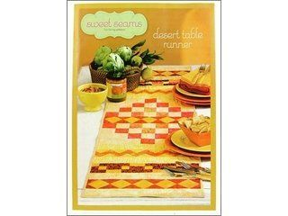 "Sweet Seams Desert Table Runner Ptrn by Sweet Seams. $2.39. Sweet Seams Desert Table Runner Pattern- Transform simple geometric shapes into an abstract work of art that will grace you table with style. Choose your color scheme, cut the squares, rectangles, and triangles from 10 different fabrics, then sew them together following the instructions. This table runner is reversible giving you a bigger bang for your buck. Finished size about 14.5""x 52"". Includes in..."