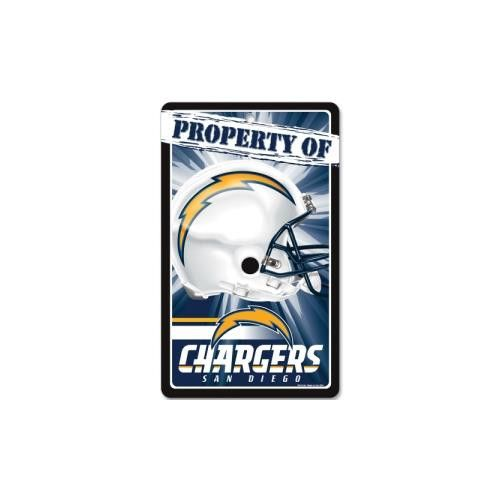 """San Diego Chargers NFL """"Property Of"""" Plastic Sign (7.25in x 12in)"""