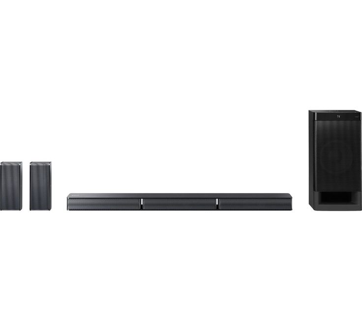 SONY  HT-RT3 5.1 Sound Bar Price: £ 179.99 Add immersive audio to your home entertainment setup with the Sony HT-RT3 5.1 Sound Bar with wired subwoofer and two rear speakers. Surround sound The HTRT3 allows you to enjoy 5.1 channel surround sound for an excellent audio experience. The compact setup consists of a slim sound bar, along with two rear speakers and an external subwoofer. S-Master...
