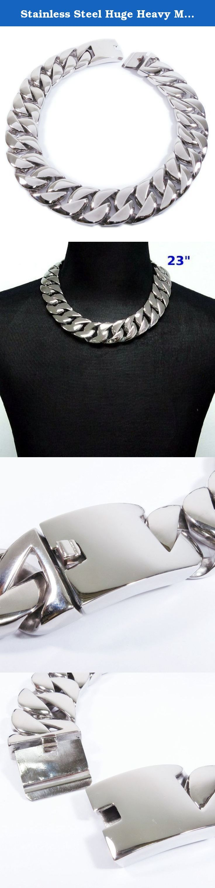 """Stainless Steel Huge Heavy Men Chain Necklace 31mm 28inch. One stainless steel necklace. Highly polished surface curb chain design, tongue clasp. 31mm wide. Very heavy, 20"""" chain is 650g, 34.2"""" chain is 1170g. The coin in the pictures is a US quarter dollar for size reference only and not included. ** Please note that this chain is wide and heavy so order only if you want real wide and heavy chain. Thank you."""