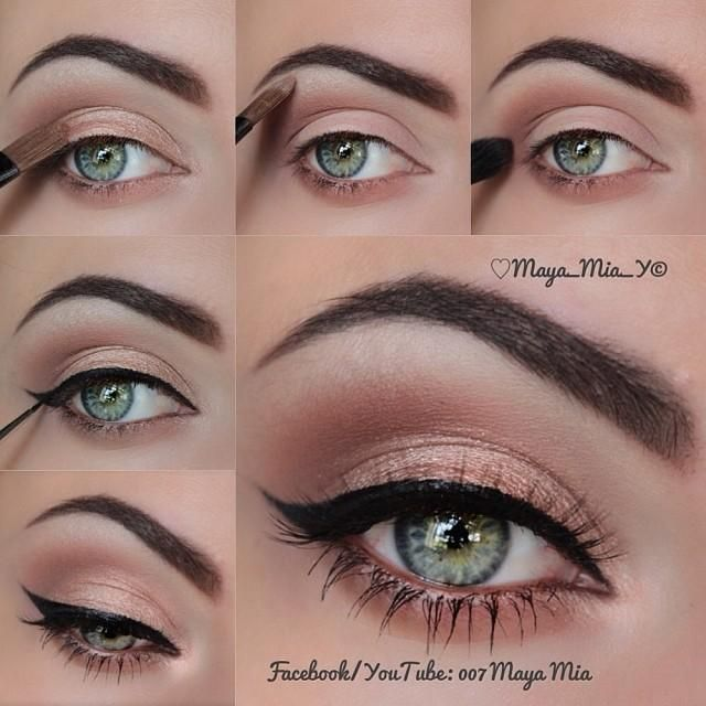 Winged eyeliner look; I think UD Toasted, Chopper, or Sin ...