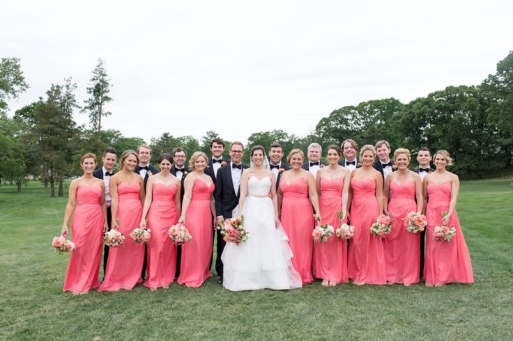 Large Bridal Party | Coral Bridal Party
