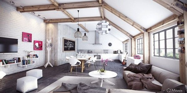 Brick Wall Studio Apartment Inspiration Living Room