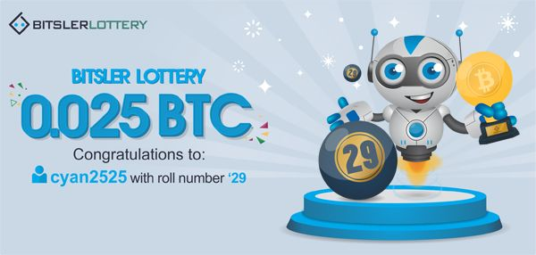 Congratulations to cyan2525 who won 0.025 BTC ($381) ! The next one will take place @ btslr.co/ornGv 😌   #bitcoin #lottery #winner -- bitsler.com
