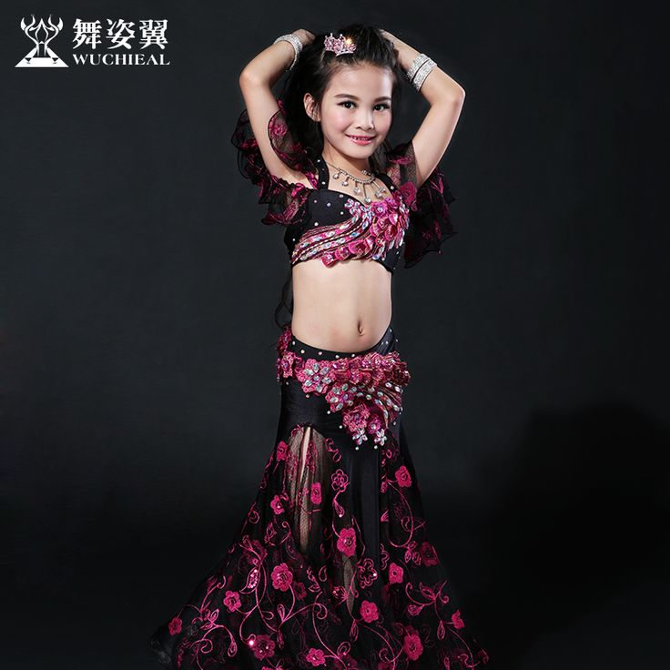 2016 Hot Sale Wuchieal Brand High Grade Bellydance Costumes 2017 New Kid Girls Belly Dance Performance Top+skirt Suits Rt059