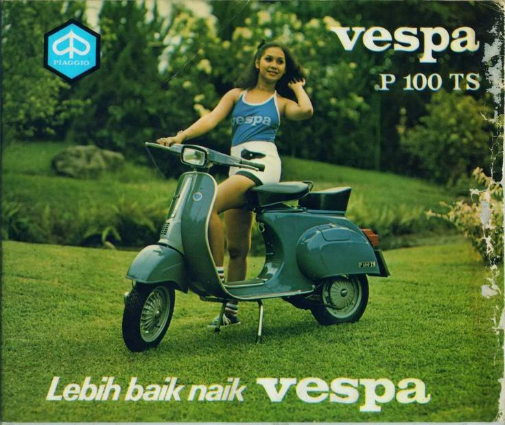 old time commercial from indonesia. a picture from past commercial in indonesia, vespa P100TS (V9B1T), year 1978-1984 Lebih baik naik vespa means its better to ride a vespa.. the slogan still exist untill nowadays.. notice the square head lamps and no turn signal..