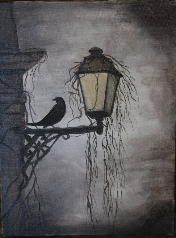 Original Acrylic Painting of Raven on Light by crileydesigns