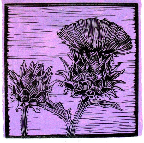 Title: Artichoke III (Purple) Medium: Linotype Edition: 3/10 Size: 200 x 200mm Artists thoughts: Artichokes are wholesome food with deeper symbolic meaning to me. The vegetable needs to be cooked well to be enjoyed. The hard outer layers need to be peeled away to get to the heart of the artichoke. God also peeles away our outer layers to get to our heart – He is interested in our hearts.
