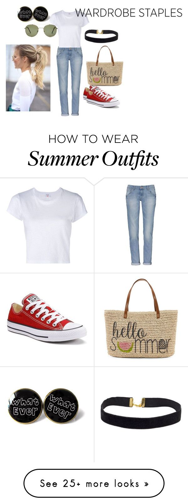 """""""My Weekend Outfit"""" by faeryrain on Polyvore featuring RE/DONE, Converse, Forever 21, Straw Studios and WardrobeStaples"""