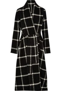 Black & white winter outfit - LANVIN: Checked wool-bleend coat.