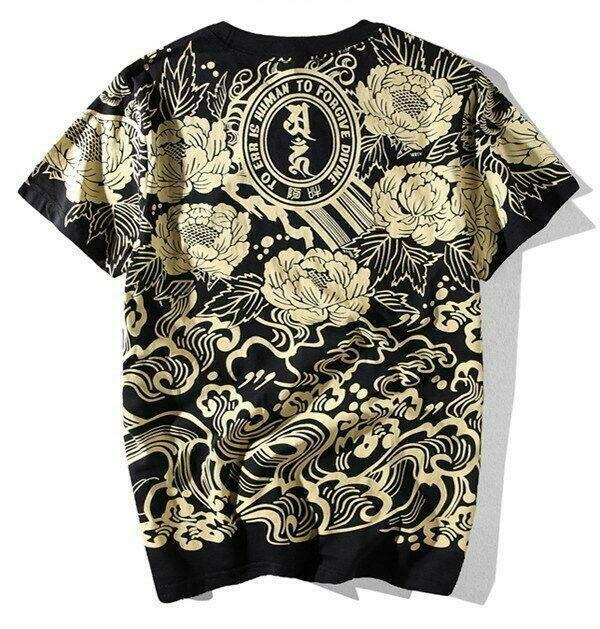 Mens T Shirt Japanese Pattern Allover Tee Tattoo Gangster