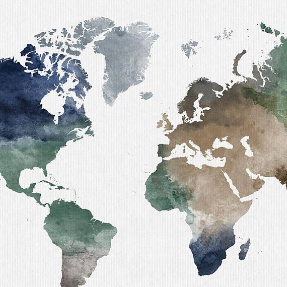 Weltkarte Poster, große Weltkarte Kunst, Weltkarte Wandkunst ...