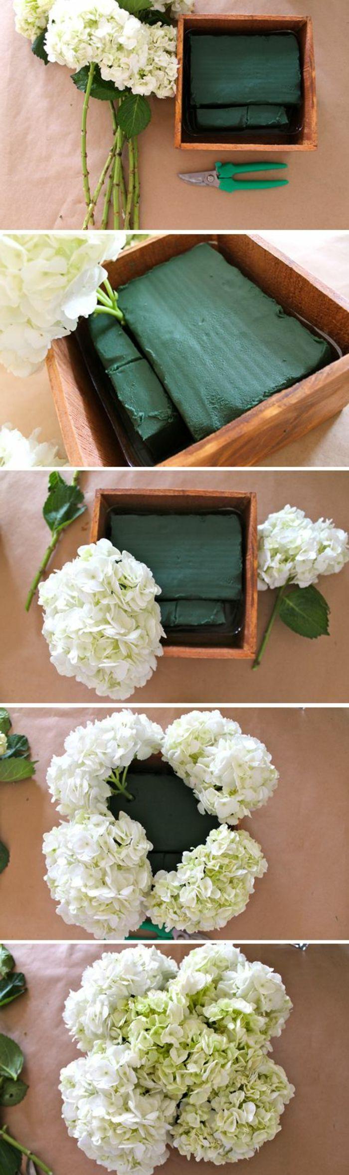 festliche tischdeko, steckschwamm, weiße hortensien arrangieren