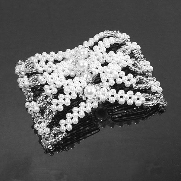 Stretchy Magic Double Bead Beaded Hair Clip Comb Pin Hairpin Extension 82003 in Clothing, Shoes, Accessories, Wedding, Bridal Accessories | eBay