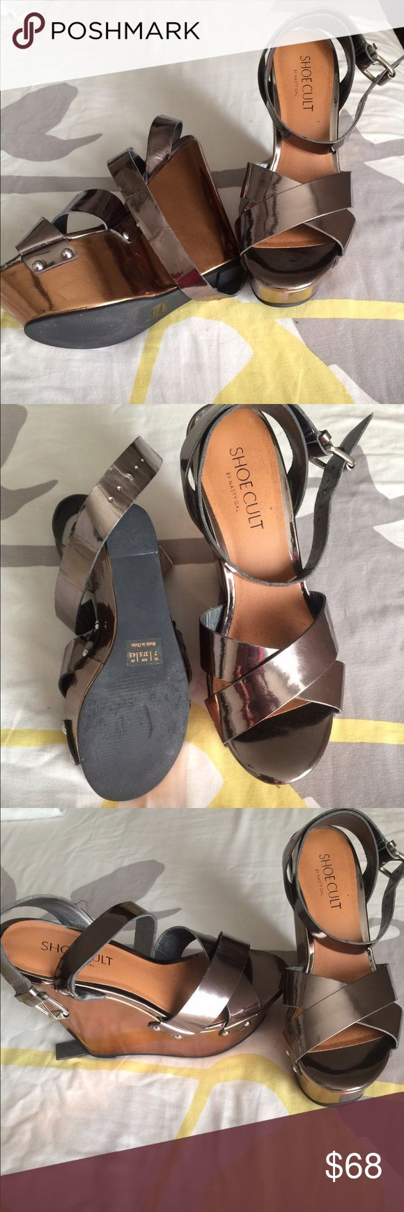 Shoe cult by nasty gal wedge pewter sandals Shoe cult by nasty gal wedge pewter sandals .. brand new only wore ONCE Nasty Gal Shoes Sandals