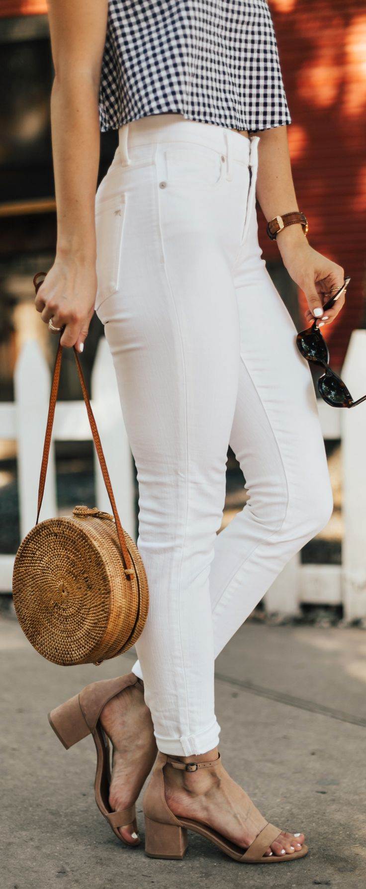 Gingham Tank & Round Straw Handbag | LivvyLand