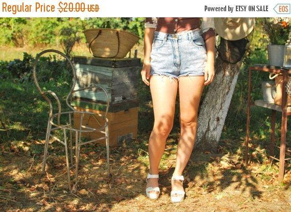 SALE Acid Wash High Waisted Denim Shorts VINTAGE by kickassvintage