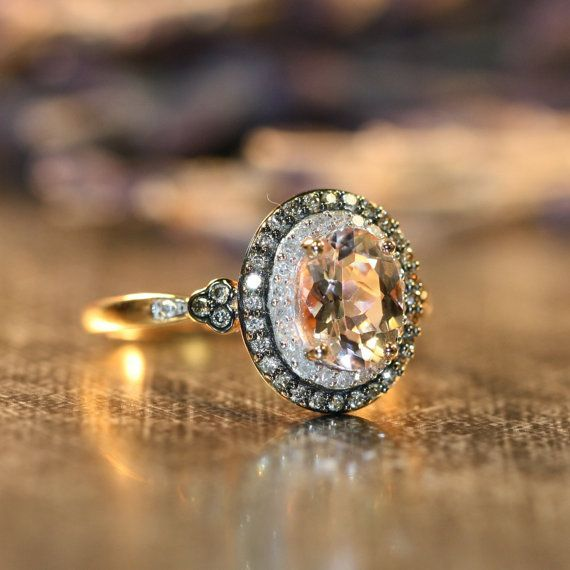 DREAMIEST RING I'VE EVER SEEN. I WANT IT -- Champagne Diamond and Morganite Engagement Ring in 10k by LuxCrown