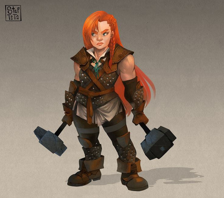 Two armor choices for a female dwarf character, both heavy and light armors, with their pros and cons. :)