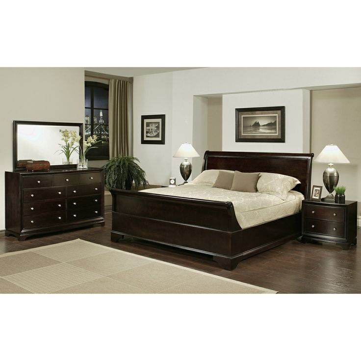 Enrich your home decor with this Kingston king-size Sleigh bedroom set. This set features solid oak wood construction and includes a king-size bed, two nightstands, one dresser and one mirror.