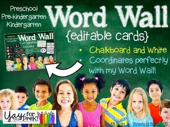 """These EDITABLE Word Wall Cards coordinate with my PreK and Kindergarten Word Wall perfectly, so you can add student names, sight words, vocabulary, etc. Simply open this file in PowerPoint, click on the """"text"""" box and change the word. The font used in my Word Wall set is Rowdy Writing, which is a free download from Rowdy in Room 300."""