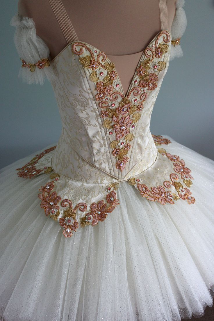 Classical tutu in Ivory, Gold and Rose, DQ DESIGNS tutus and more
