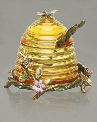 Jay Strongwater beehive shape honey pot and spoon from Neiman Marcus.