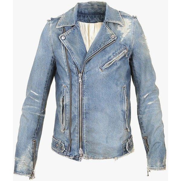 Balmain Denim biker jacket with destroyed details ($2,000) ❤ liked on Polyvore…