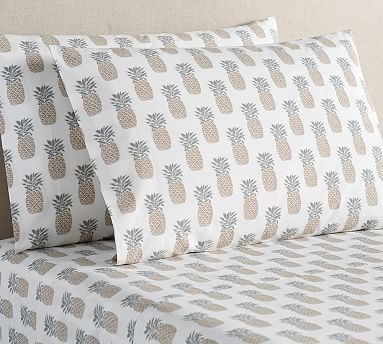 Pineapple Print Organic Sheet Set, Full, Neutral. Dorm Room BeddingTeen  Girl RoomsPottery BarnPineapple ... Part 56