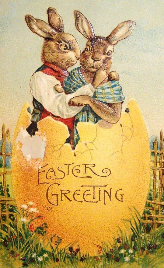 Vintage German Easter Postcard With Anthro Rabbit And His Suitcase