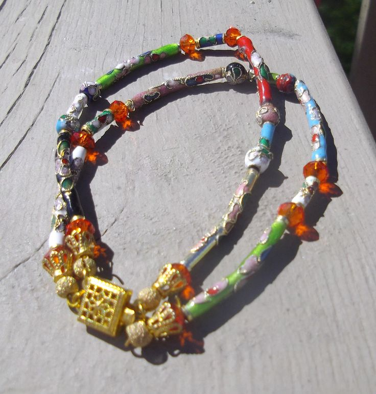Double Strand Cloisonné & Crystal Bracelet with Gold tone Box Clasp.