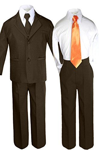 173dababaefd Unotux 6pc Boys Dark Brown Suits Sets with Satin Orange Necktie Outfits All  Size