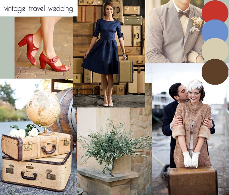 Vintage travel wedding inspiration moodboard. Created to match my Vintage Travel wedding invitations and stationery range http://www.knotsandkisses.co.uk/product-category/vintage-collection/vintage-travel/
