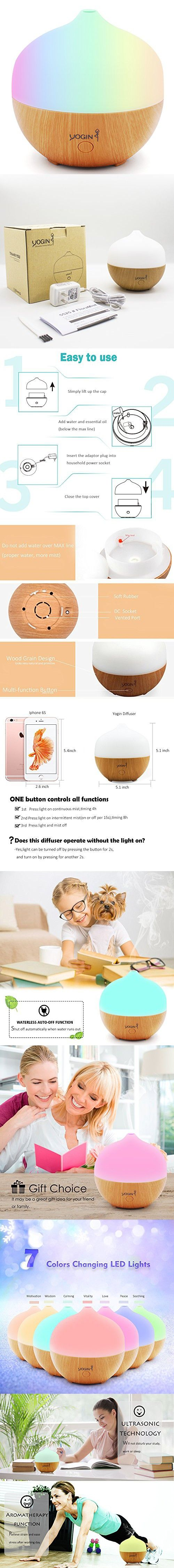 Yogin 130ml Wood Grain Aromatherapy Essential Oil Diffuser Ultrasonic Cool Mist Diffuser with Multi Color LED Light, Waterless Auto Shut-off for Office, Home, Bedroom, Baby Room, Spa, Yoga