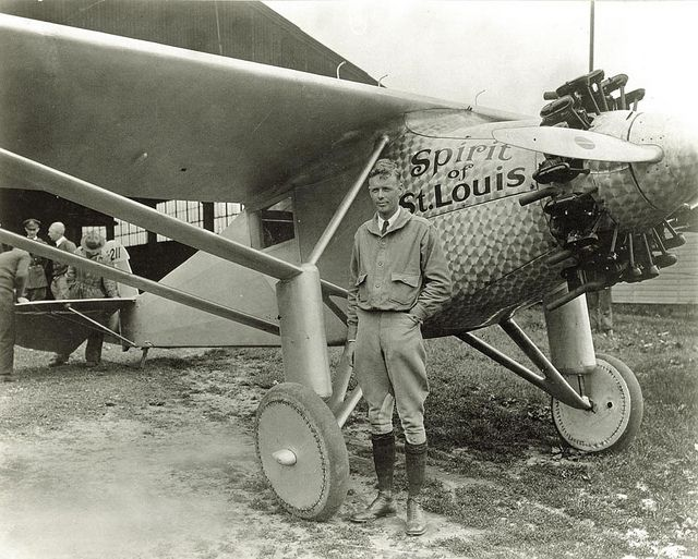 Charles Lindbergh completed the first solo flight across the Atlantic Ocean on May 21, 1927, landing his Spirit of St. Louis near Paris. (American Commercial Photographers, Missouri History Museum)