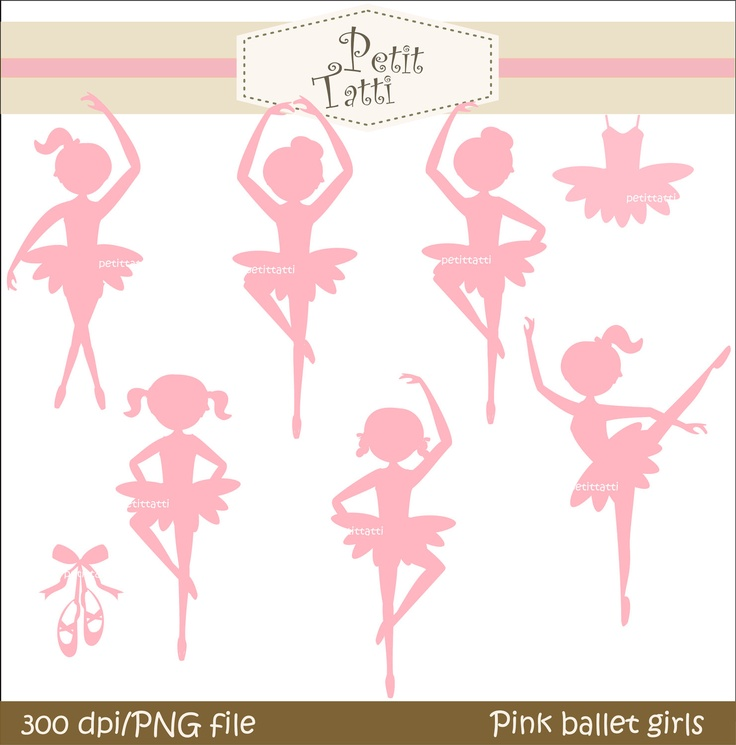 Ballet girls clip art, silhouette instant download Digital clip art  for all use, Pink Ballet girls. $4.80, via Etsy.