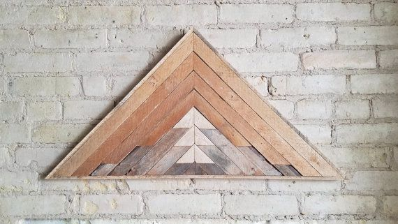 Reclaimed Wood Wall Art Decor Lath Pattern by EleventyOneStudio