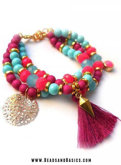 Boho Ibiza Pink with Blue Bracelets set -  DIY + Materials to make your own at   www.beadsandbasics.com