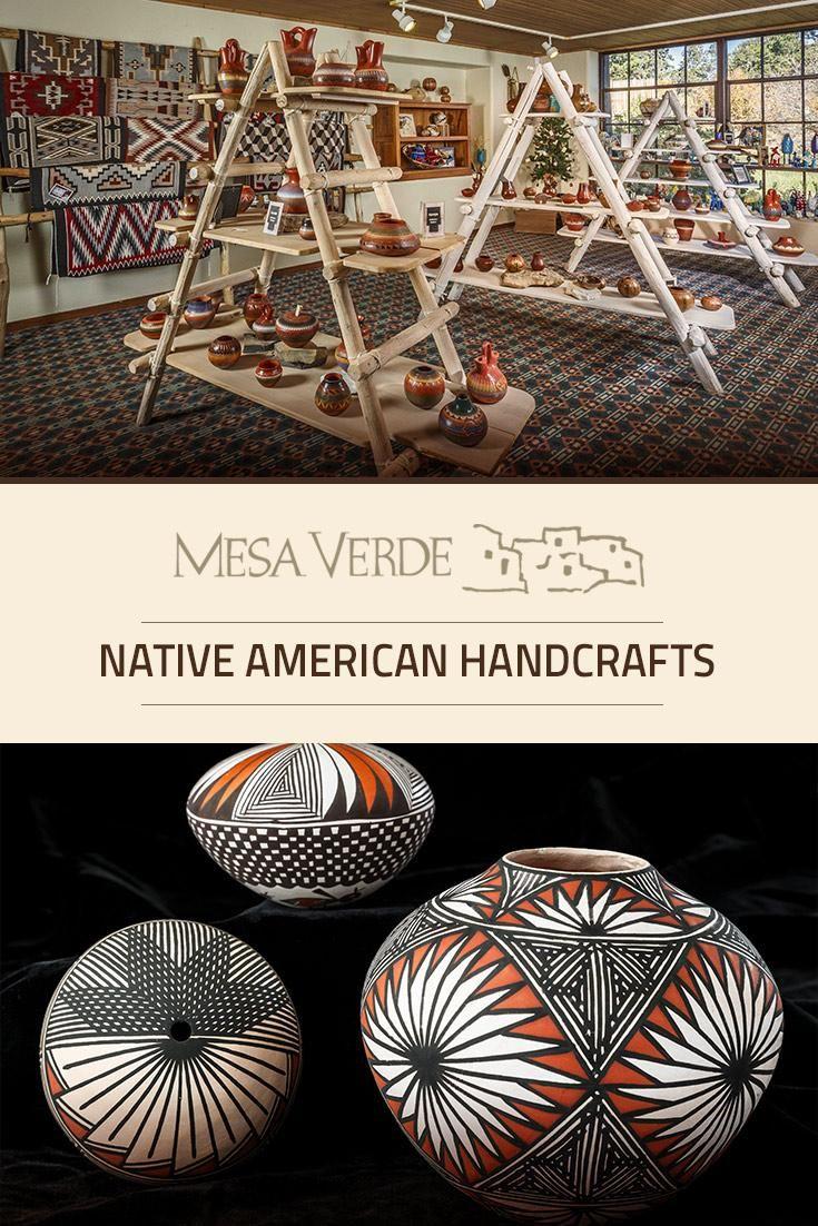 Mesa Verde National Park shopping feature regional Native American handcrafts: Navajo rugs, handmade flutes, katsina & kachina carved wooden dolls, woven baskets, pottery & drums.