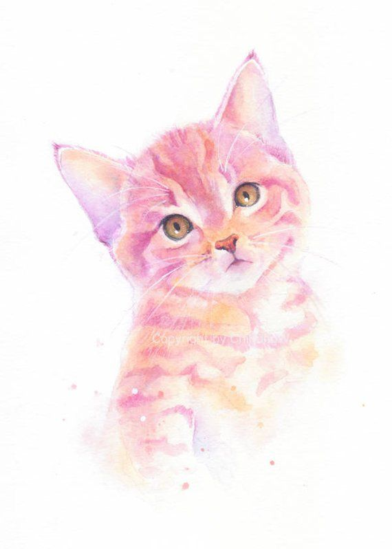 Kitten Cat Kitten Print Animal Print Giclee Art Watercolor