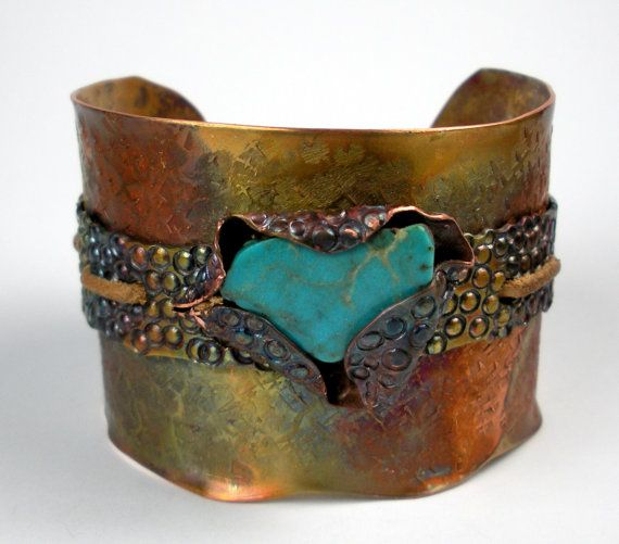 Turquoise and Copper Cuff A Hammered Stamped and by FebraRose