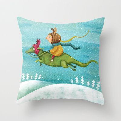 Anietshka and the snow Throw Pillow by Krisztina Maros - $20.00