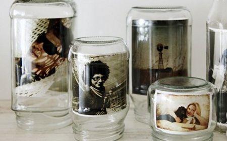 Portarretratos hechos con envases de vidrio - Las Manualidades